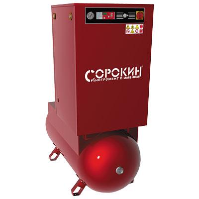 Винтовой компрессор с ременным приводом 10атм, 11кВт, 380В, 1400л/мин, 500л СОРОКИН