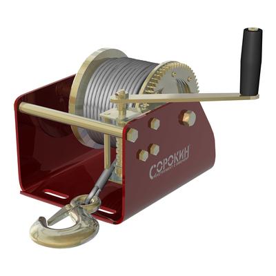 Лебёдка барабанная 0,9т 12м с червячным приводом СОРОКИН