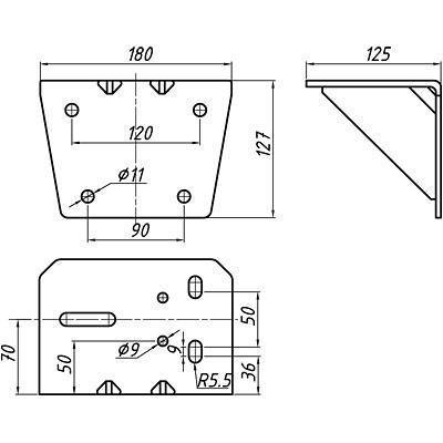 Консоль настенная 0,5т с подвесными блоками для барабанных лебёдок